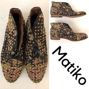 Matiko Black Floral Studded Ankle Boots/Booties